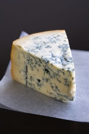 pasteurized: Wedge of Blue Cheese, Gorgonzola type Stock Photo