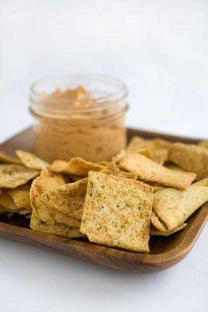 Hummus Tomato Basil with Crisp Pita Chips Stock Photo - 795234
