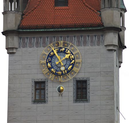 zodiacal: Zodiacal signs on tower clock Stock Photo