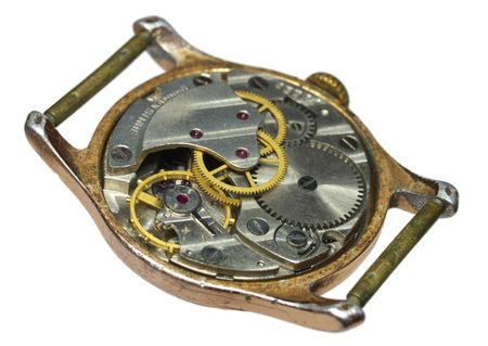 Closeup of old watch mechanism photo
