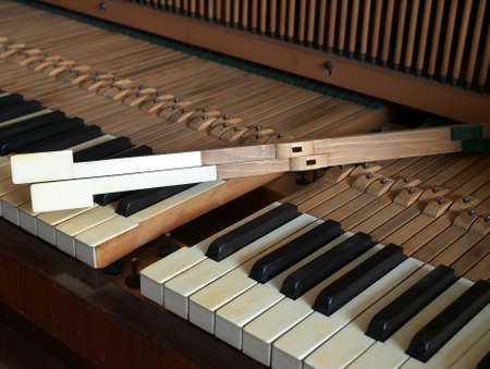 Dismantling of a old piano keyboard photo