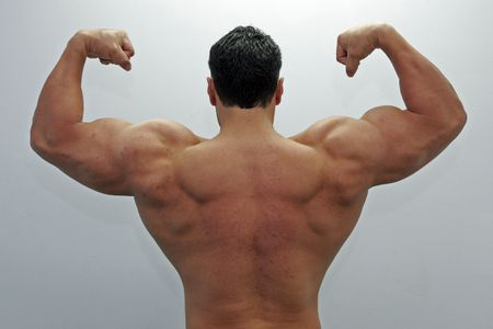 body built: Back view of a body builder