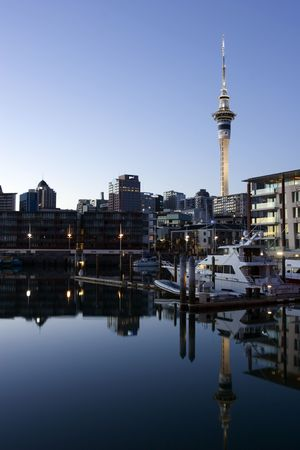 marina: View of yachts and apartment buildings in the Lighter Basin area of Auckland Stock Photo