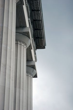 financial stability: Image of the columns at the front of the Auckland Museum Stock Photo