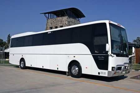 undefined: White Tourist Coach outside a winery in Queensland Stock Photo