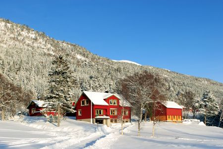 barns winter: Norwegian farmhouse and outbuildings covered in snow