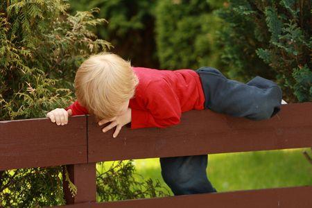 fencepost: Little Boy Climbing a Fence