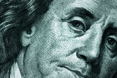 monies: close up Benjamin Franklin, One Hundred Dollar Bill