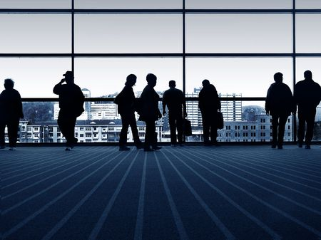 Group of people in the city, silhouettes Stock Photo