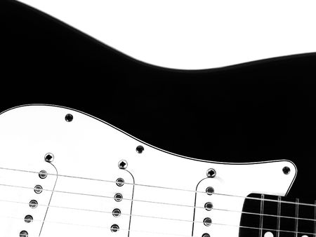 electric guitar, black and white