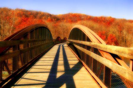 autumn trees behind open bridge