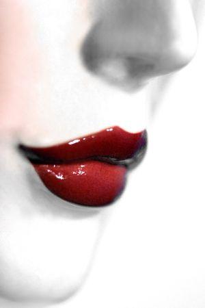 red lips high key Stock Photo