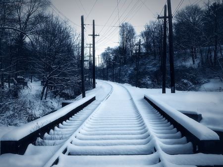 street car track in snow - winter Stock Photo