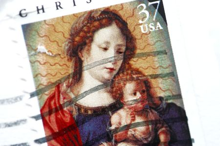 cancelled Christmas postage stamp - Madonna and Child