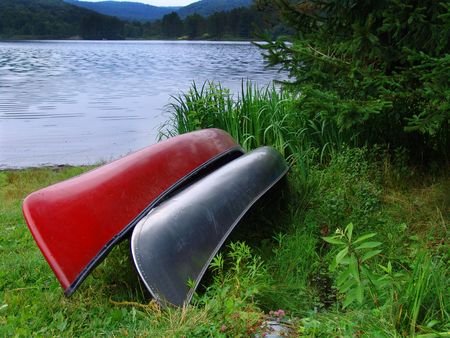 two canoes on a Pennsylvania lake