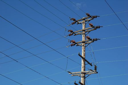 power cables: electrical high tension lines Stock Photo