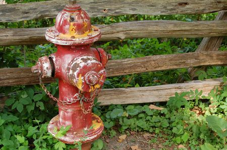 rusted fire hydrant in rural setting photo