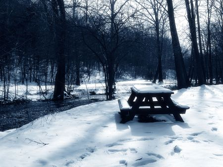 snow break: picnic table by creek covered in snow