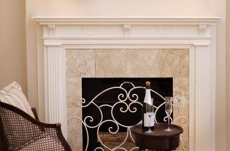 white fireplace mantle Stock Photo
