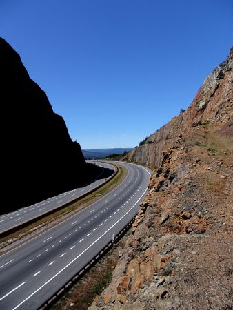 road cut through mountain at Sideling Hill Maryland Stock Photo