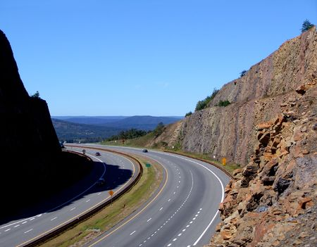 highway cut in mountain Stock Photo