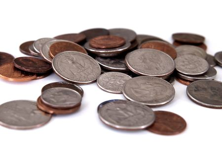 spare change - coins on white background photo