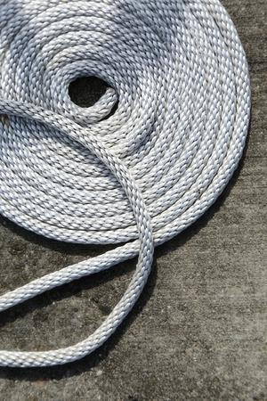 boat rope swirled on deck Stock Photo
