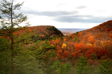 the colorful hills of West Virginia in autumn Stock Photo