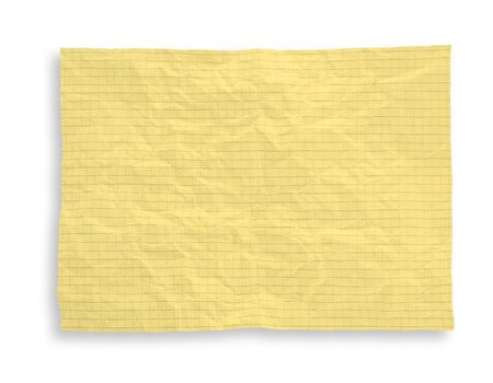 yellow thumbtacks: creased blank paper page with shadow Stock Photo