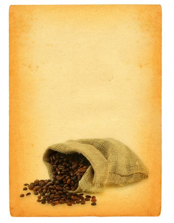 sheet of old paper with spilled coffee motif photo