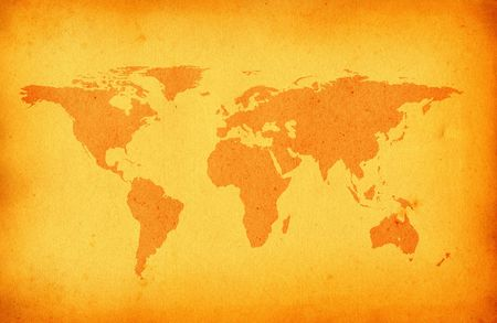 scabrous: old stained world map Stock Photo