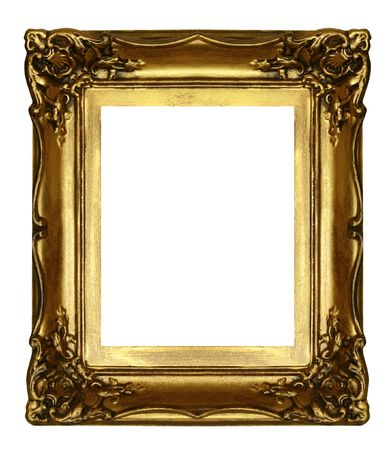 old sculpted golden frame isolated on white photo