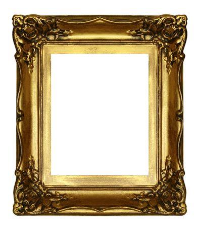 sculpted: oude gebeeldhouwde gouden frame geïsoleerd op wit