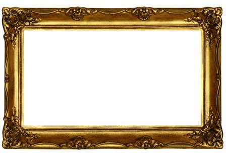 marcos decorados: De edad de oro esculpido marco aislados en blanco