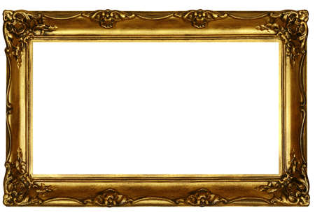 old sculpted golden frame isolated on white