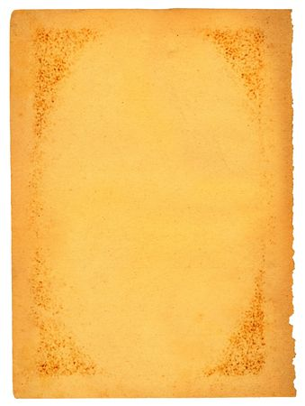 scabrous: old stained sheet of paper isolated on white