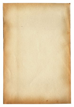 ridged: old paper page isolated on white background
