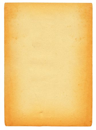 sheet of old stained paper isolated on pure white background