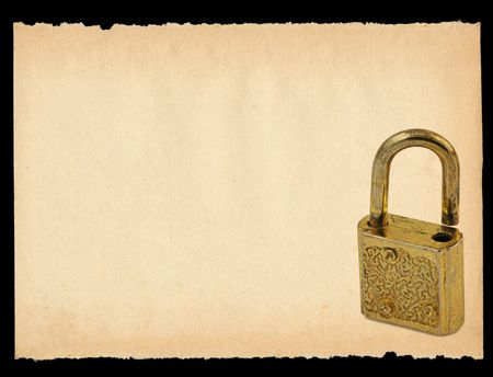 torn out sheet of paper with old padlock motif - XXL size photo