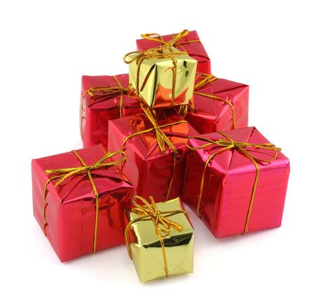 stack of red nad golden gifts isolated on white photo