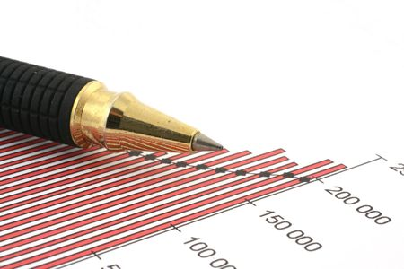pen tip and business chart on white Stock Photo - 863334