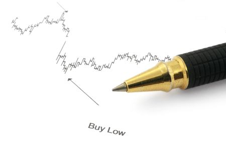 business chart with BUY LOW caption and ballpoint pen Stock Photo - 869258