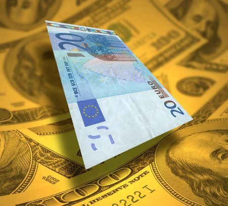 20 euros note flying over bed of yellowed dollars Stock Photo - 869261