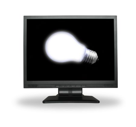 white light bulb in lcd screen isolated on white photo