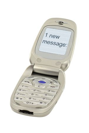 new message: mobile phone with ONE NEW MESSAGE text #2 Stock Photo