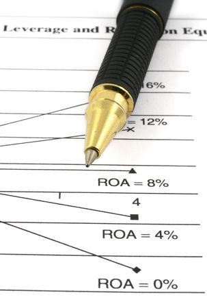 close-up of financial analysis and ballpoint pen Stock Photo - 881520