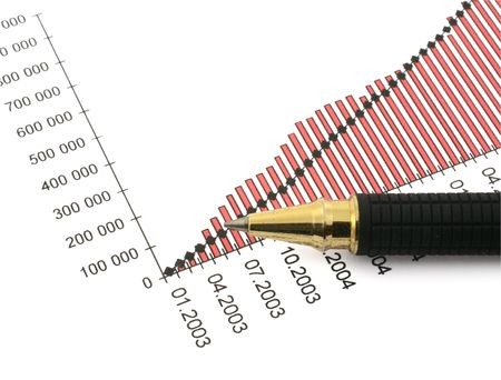 pen tip and business chart on white Stock Photo - 881523