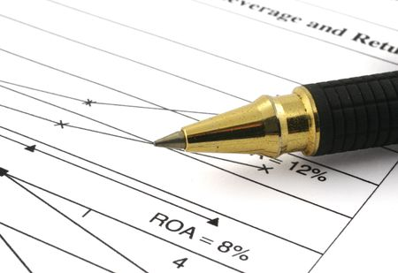 close-up of financial analysis and ballpoint pen  Stock Photo - 886889