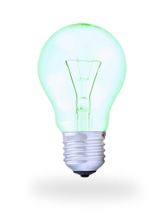 close-up of light bulb with shadow on white background Stock Photo
