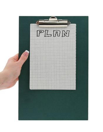 hand holding clipboard with copy space for plan notes Stock Photo - 900067